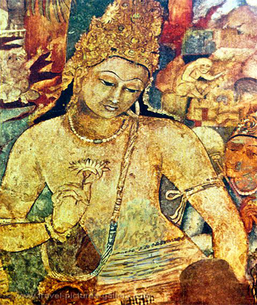 Ajantha and ellora cave painting indian traditional art for Ajanta mural painting