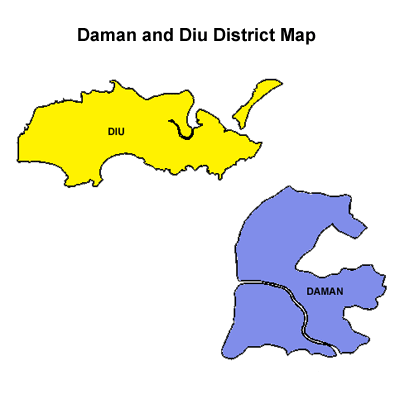 Daman and Diu district Map